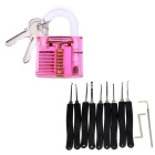 Práctica Lock + Lock Picks Set - Transparente Rojo + Negro