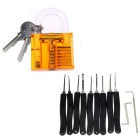 Practice Lock + Lock Picks Set - Transparent Orange + Black