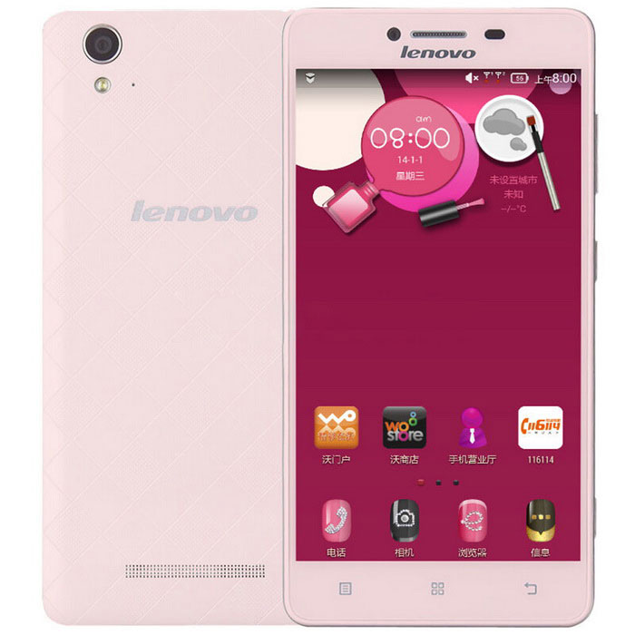 "Lenovo A858 5"" Quad-Core Android 4G Phone w/ 1GB RAM, 8GB ROM - Pink"