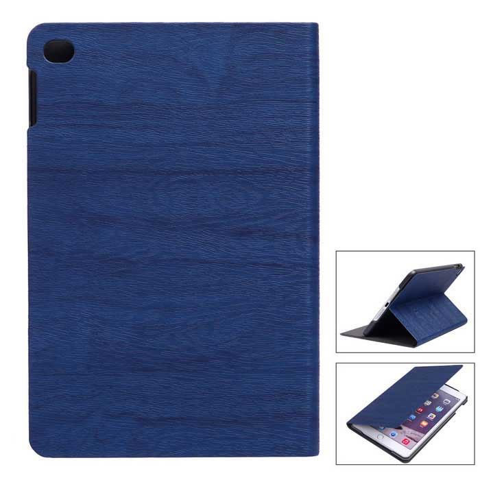 Custodia in pelle Wood Grain PU protettiva per iPad Mini 4 - Blu