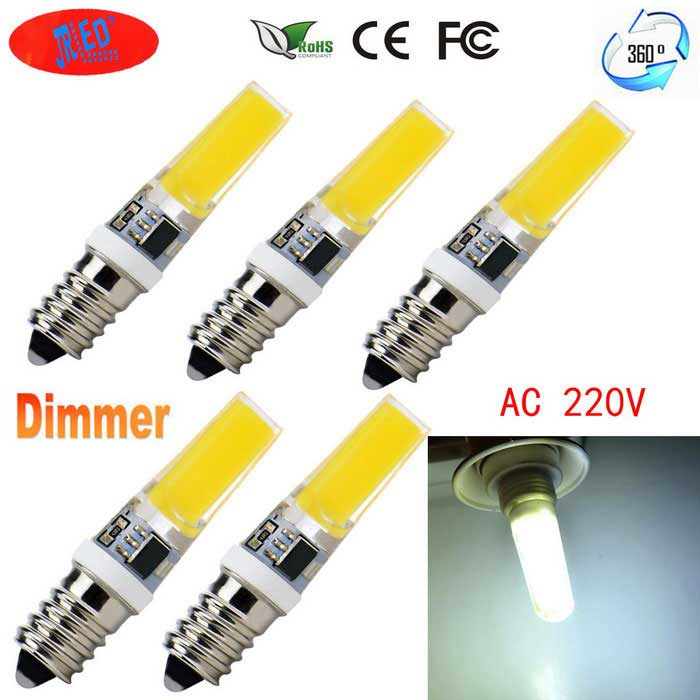 JRLED E14 5W 24-COB Cold White LED Light Bulbs (AC 220V / 5PCS)