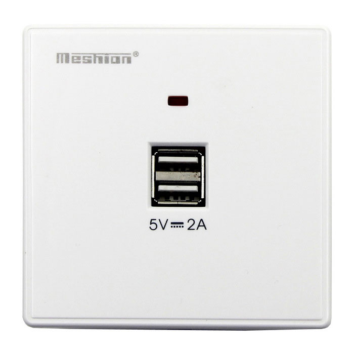 Meshion montado en la pared Panel de entrada de potencia con doble puerto USB - blanco (110 ~ 240V)
