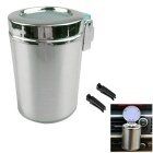 Portable Vehicle Air Outlet Hanging Type Cigarette Ash Cylinder w/ LED Light - Silver