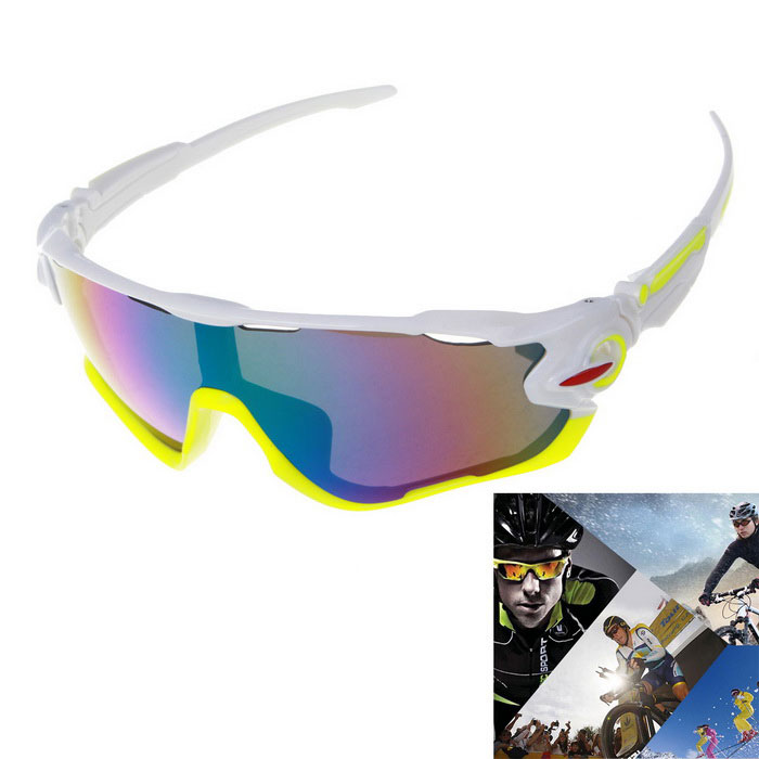 Unisex Outdoor Sports Ciclismo reflexivos Sunglasses - verde + branco