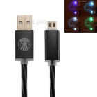 Hat-prince LED de datos de flash / cargador de cable para teléfono Android - negro