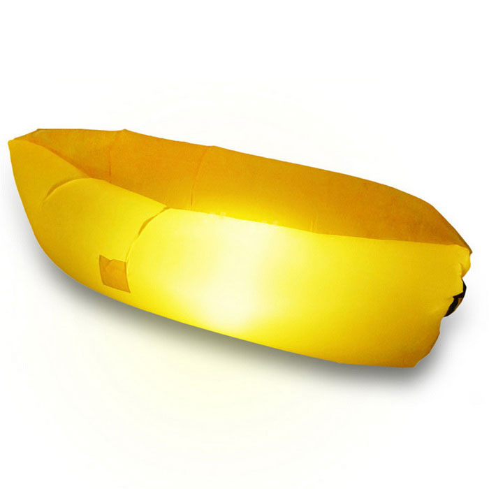 LED Light Camping Lamp Portable Inflatable Sofa Bed Lounger - Yellow
