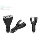 Universal USB Type-C 1-to-4 Quick-Charging Car Charger - Black