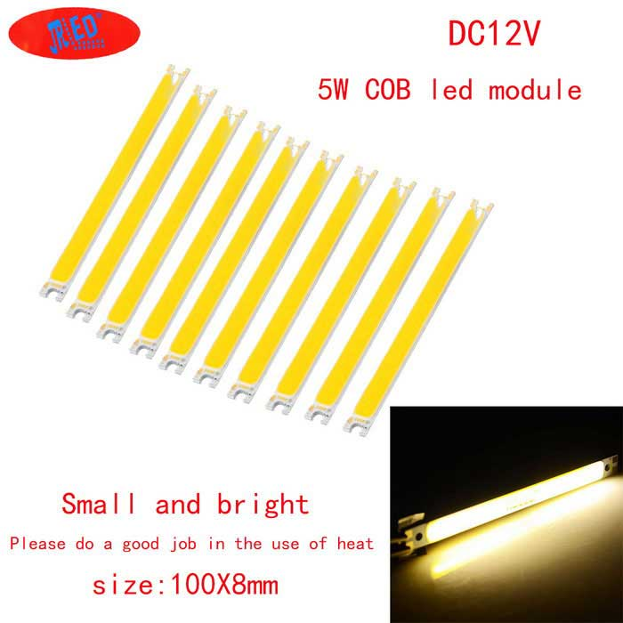 JRLED 100 * 8mm 5W 16-COB Warm White LED-moduler (DC 12 ~ 14V / 10 PCS)