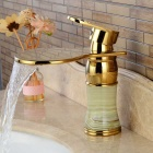 Imitation Jade Ti-PVD Waterfall Single Handle Bathroom Sink Faucet