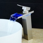 Contemporary Single Handle Nickel Brushed LED Waterfall Bathroom Sink Faucet