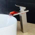 Stylish Heightening Nickel Brushed LED Waterfall Bathroom Sink Faucet