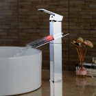 Contemporary Chrome Bathroom Sink Faucet Waterfall with LED Light