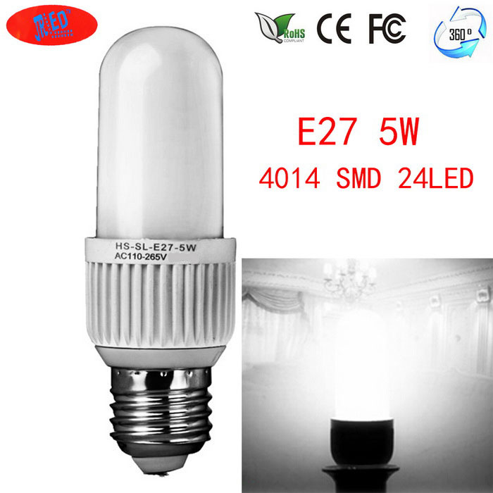 JRLED E27 5W LED-Mais-Lampen-24-SMD 4014 (AC 110 ~ 265V)