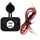 Double USB Car Power Charger with 60 Wires for Cars and Motorcycles
