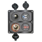 4-Hole Assembly Voltmeter Cigarette Lighter Dual USB Port Sheet Panel