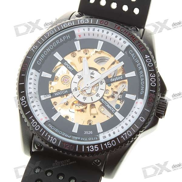 Day Bird Stainless Steel Self-Winding Mechanical Wristwatch (Black + Golden)