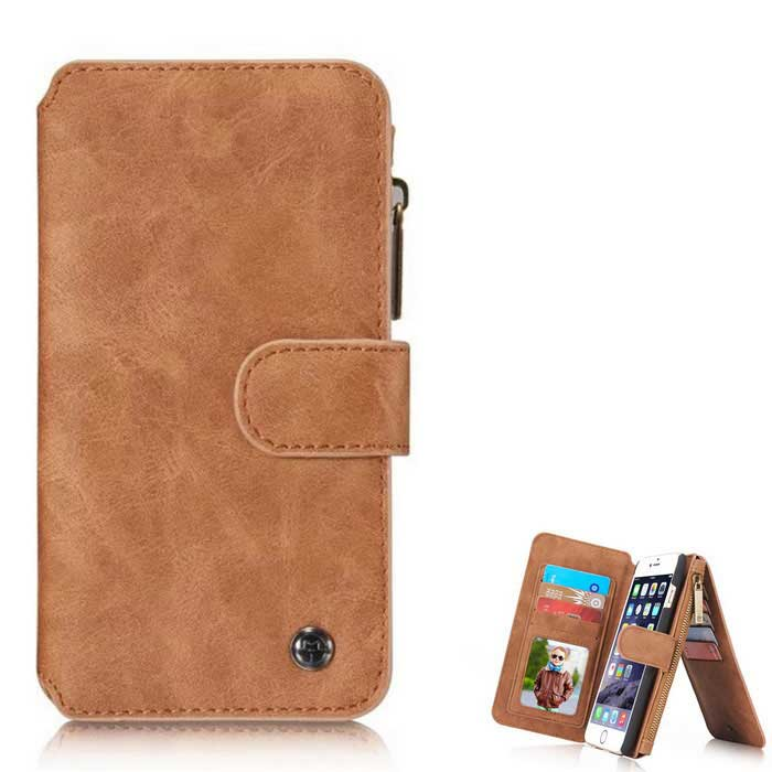 Protective Magnetic Removable Wallet Case w/ Stand�?Card Slots for IPHONE 6 Plus / 6S PLUS - Brown