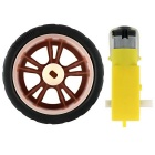 3~7.2V Dual Axis TT Gear Motor + 65mm Red Rubber Wheel for Smart Car