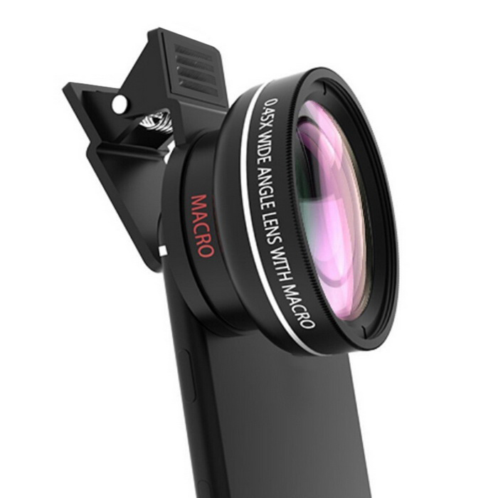 37mm 0.45x 49UV Super Wide Angle Lens w/ Macro for Cell Phone - Black