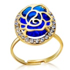 Xinguang Hollow Out Rose Style Zircon Alloy + Crystal Decoration Ring