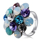 Xinguang Women's Colorful Crystal Finger Ring - White + Light Blue
