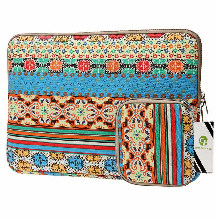 "EPGATE 15.6"" Folk Style Laptop Sleeve Bag + Power Bag Kit"