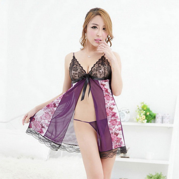 Woman's Fashionable Sexy Lingerie Suit, Sexy Lace +Spandex Sleep Dress