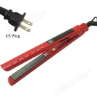 US Plugs 360 Rotating Vibration LCD Titanium Board Hair Straightener AC110~240V 50W - Red