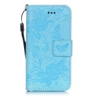 "BLCR Butterfly Pattern Wallet Case for 5.5"" IPHONE 6 Plus - Sky Blue"