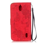 BLCR Butterfly Pattern PU + TPU Wallet Case for Huawei Y625 - Red