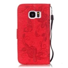 BLCR Butterfly Pattern Protective Case for Samsung Galaxy S7 - Red