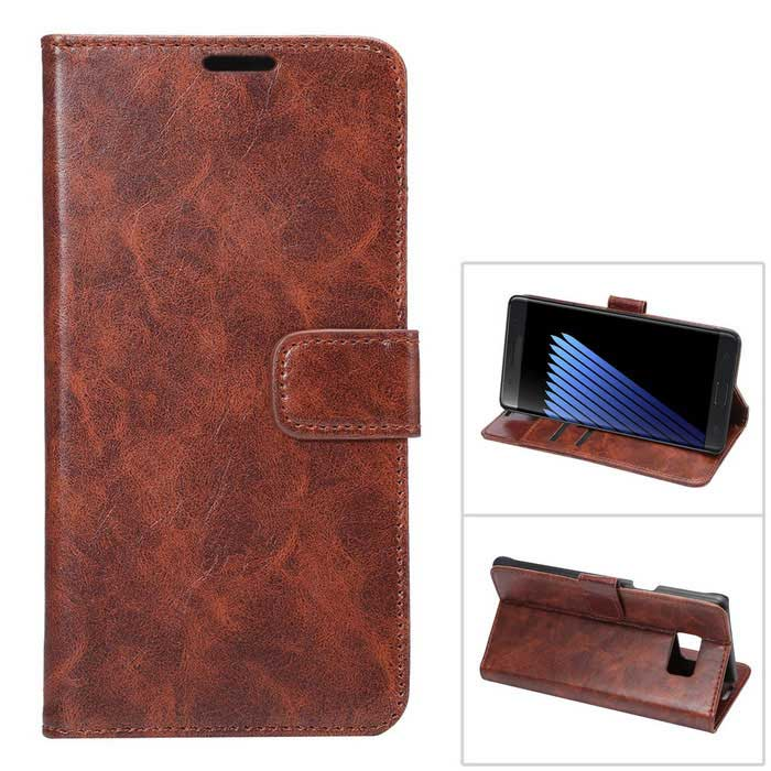 Premium PU Case w/ Card Slots for Samsung Galaxy Note 7 - Brown