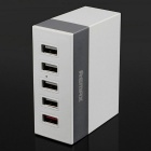 REMAX 1A / 2.1A / 2.4A 5 Ports USB Charger - White + Silver (US Plugs)
