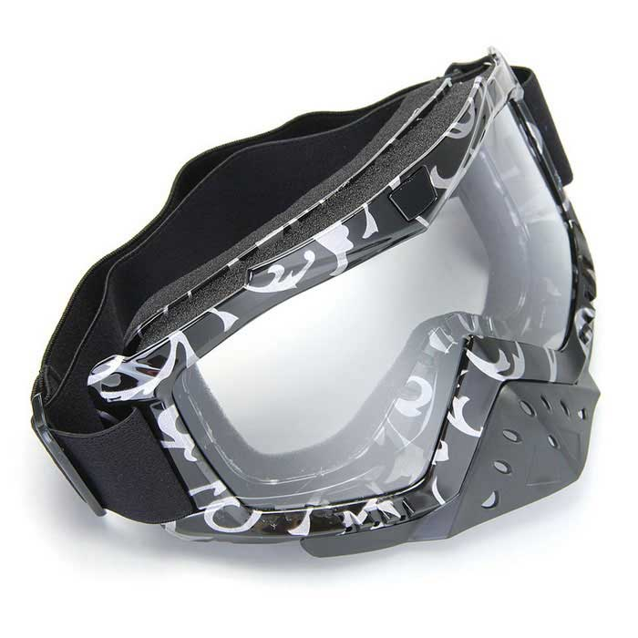 QooK Motorcycle Motocross Ski Glasses Goggle - Black + Silver