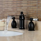 Separated Type Two Handles Oil-rubbed Bronze Bathroom Basin Faucet