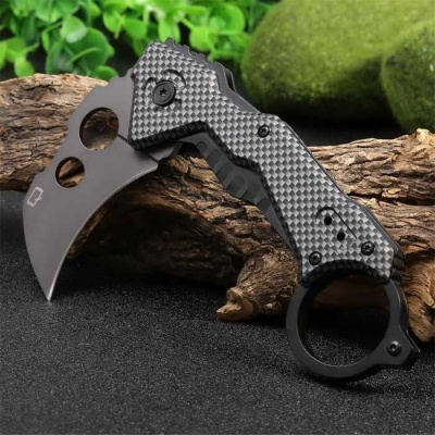 Outdoor Camping Multifunction Liner Lock Foldable Knife - Silvery Grey