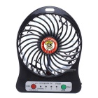 Outdoor Mini Portable USB Rechargeable Fan w/ LED Light - Black