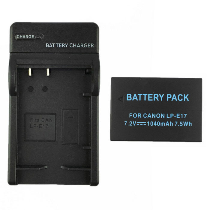 lpe17 1040mah digitalkamera batteri + lader for canon eos
