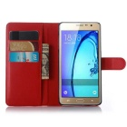 PU Magnetic Flip-Open Wallet Case w/ Strap for Samsung Galaxy On7/600