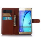 PU Magnetic Flip-Open Wallet Case w/ Strap for Samsung Z3 - Brown