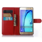 PU Magnetic Flip-Open Wallet Case w/ Strap for Samsung Z3 - Red
