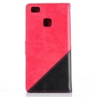 PU Leather Wallet Cases w/ Stand for Huawei P9 Lite - Red + Black