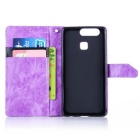 PU Leather Wallet Cases w/ Holder for Huawei P9 - Purple + Black