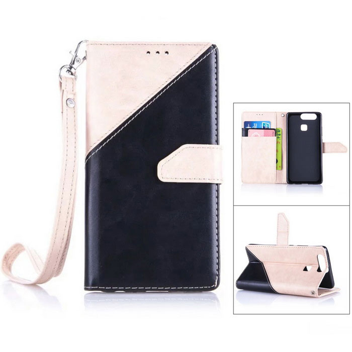PU Leather Wallet Case w / Holder para Huawei P9 - Off-white + Black