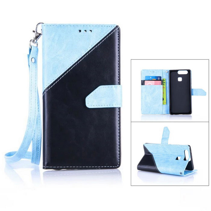 PU Leather Wallet Case w/ Holder for Huawei P9 - Sky Blue + Black