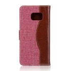 Denim + PU Leather Case Cover Stand for Samsung Galaxy Note 7 - Pink