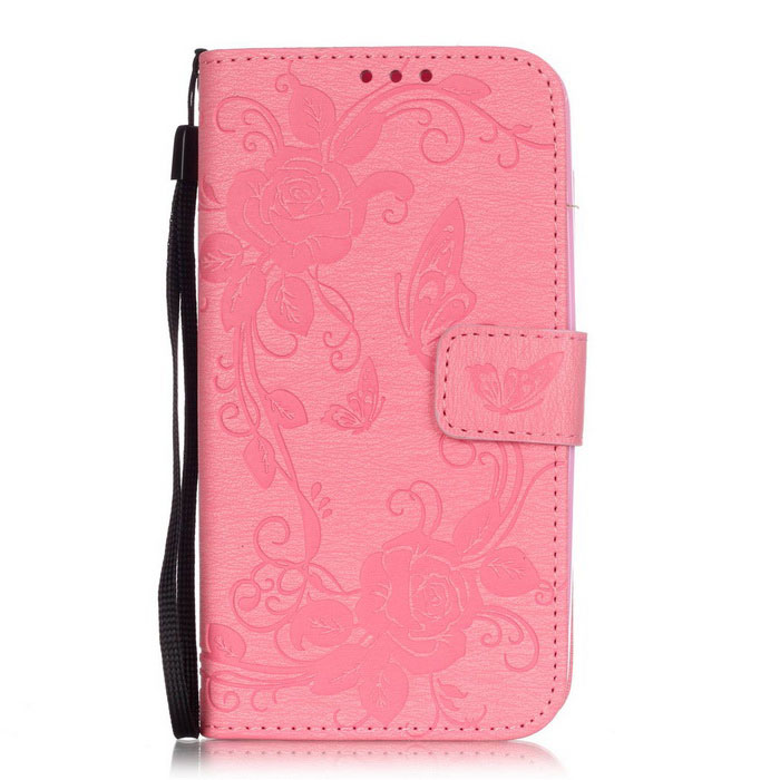 BLCR Butterfly Pattern PU + TPU Wallet Case for Huawei Y625 - Pink