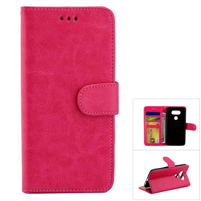Flip Open PU Leather Case w/ Stand / Card Slots for LG G5 - Deep Pink