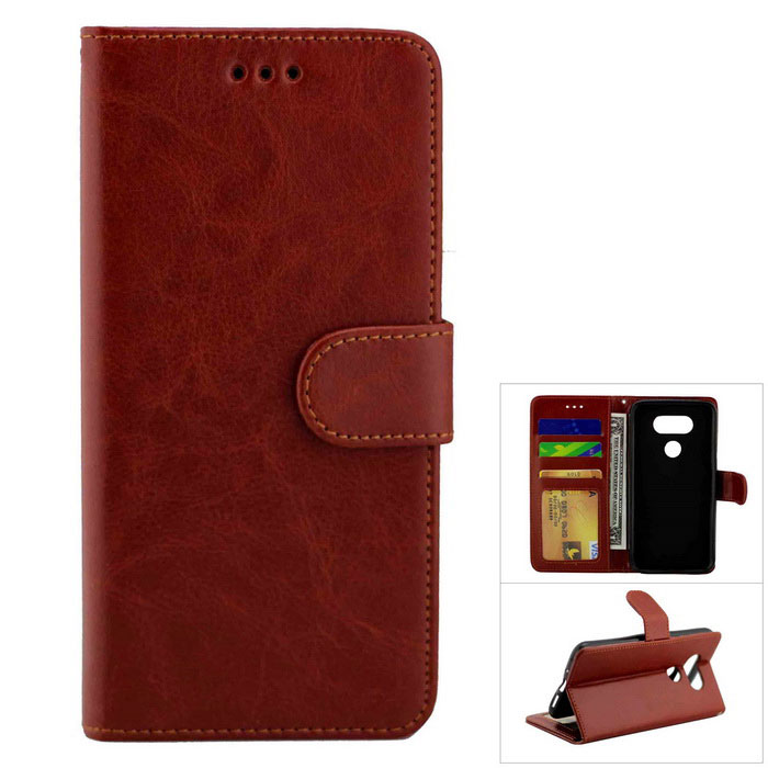 Flip Open PU Leather Case w/ Stand / Card Slots for LG G5 - Brown
