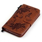 BLCR Butterfly Pattern PU + TPU Wallet Case for Huawei Y625 - Brown